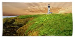 Lighthouse On  Yaquina Head  Beach Towel