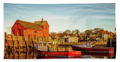 Low Tide And Lobster Boats At Motif #1 Beach Towel