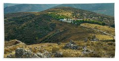 Beach Towel featuring the photograph Monastery Agion Anargiron Above Argos by Milan Ljubisavljevic