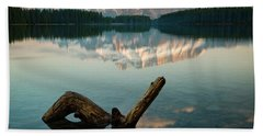 Mount Rundle And Two Jack Lake Beach Towel