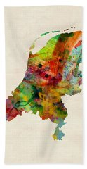 Netherlands Watercolor Map Beach Towel