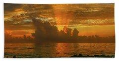 Orange Sun Rays Beach Towel