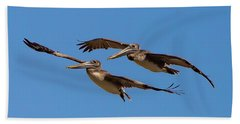 Beach Towel featuring the photograph Outer Banks Pelicans by Lora J Wilson