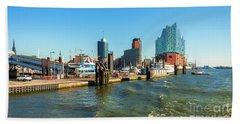 Panoramic View Of Hamburg. Beach Towel
