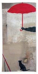 Paris Graffiti Man With Red Umbrella Beach Towel
