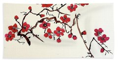 Plum Blossoms Beach Towel