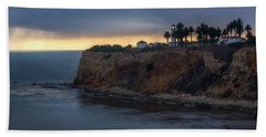 Point Vicente Lighthouse At Sunset Beach Towel