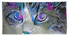 Purple Stained Glass Kitty Beach Towel
