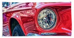 Red Vintage Car Beach Sheet