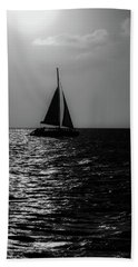 Sailing Into The Sunset Black And White Beach Towel