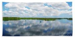 Skyscape Reflections Blue Cypress Marsh Near Vero Beach Florida C6 Beach Sheet