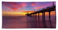 Stunning Sunset At Manhattan Beach Pier Beach Towel