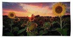 Sunflower Sunset  Beach Sheet