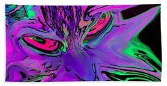 Super Duper Crazy Cat Purple Beach Towel
