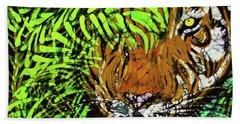 Tiger In Bamboo Beach Towel