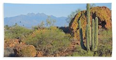 Beach Towel featuring the photograph View To Four Peaks  by Lynda Lehmann