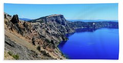 Beach Towel featuring the photograph West Rim Of Crater Lake by Dawn Richards