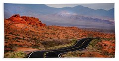 Winding Road In Valley Of Fire Beach Towel