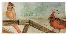 Winter Cardinals Beach Sheet