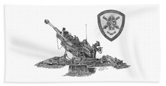 Beach Towel featuring the drawing 10th Marines 777 by Betsy Hackett