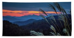 Beach Towel featuring the photograph Sunset Over Peaks On Blue Ridge Mountains Layers Range by Alex Grichenko
