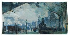 Beach Towel featuring the digital art Arrival Of The Normandy Train, Gare Saint-lazare by Claude Monet