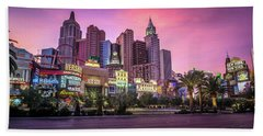 Beach Towel featuring the photograph New York City Skyline In Las Vegas Nevada by Alex Grichenko