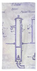 1858 Fire Hydrant Blueprint Beach Towel