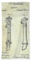 1859 Fire Hydrant Patent Beach Towel