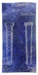 1860 Fire Hose Nozzle Patent Blue Beach Towel