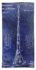 1871 Fire Hose Elevator Patent Blue Beach Towel