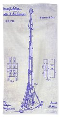1871 Fire Hose Elevator Patent Blueprint  Beach Towel