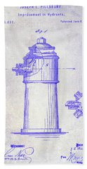 1871 Fire Hydrant Patent Blueprint Beach Towel
