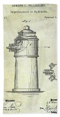 1871 Fire Hydrant Patent Beach Towel