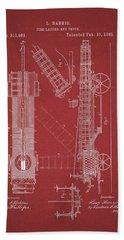 1885 Fire Truck Patent Beach Towel