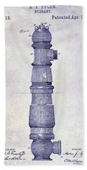 1889 Fire Hydrant Patent Blueprint Beach Towel