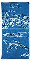 1924 Harley Davidson Motorcycle Patent Print Blueprint Beach Towel