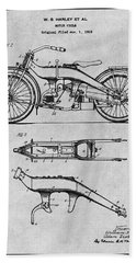 1924 Harley Davidson Motorcycle Patent Print Gray Beach Towel