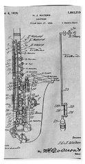 1924 Saxophone Gray Patent Print Beach Towel