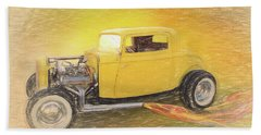 1932 Ford Coupe Yellow Beach Towel