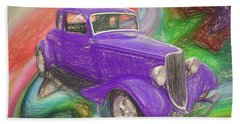 1934 Ford Colored Pencil Beach Towel