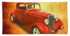 1934 Ford On Fire Beach Towel