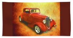 1934 Ford On Fire Beach Sheet