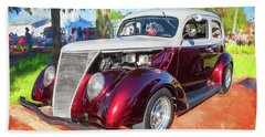 1937 Ford 2 Door Slant Back Hot Rod 11a Beach Towel
