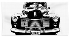 Beach Towel featuring the digital art 1941 Cadillac Front Blk by David King
