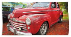 1947 Ford Super Deluxe Coupe 001 Beach Towel