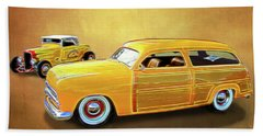 1949 Woody And 1932 Roadster Beach Towel