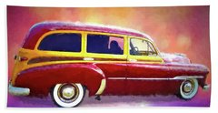 1951 Chevy Woody Sideview Beach Towel