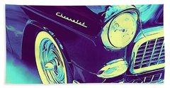 1955 Chevy Custom Front Blue Beach Towel
