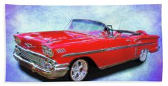 1958 Red Chevy Convertable Beach Sheet
